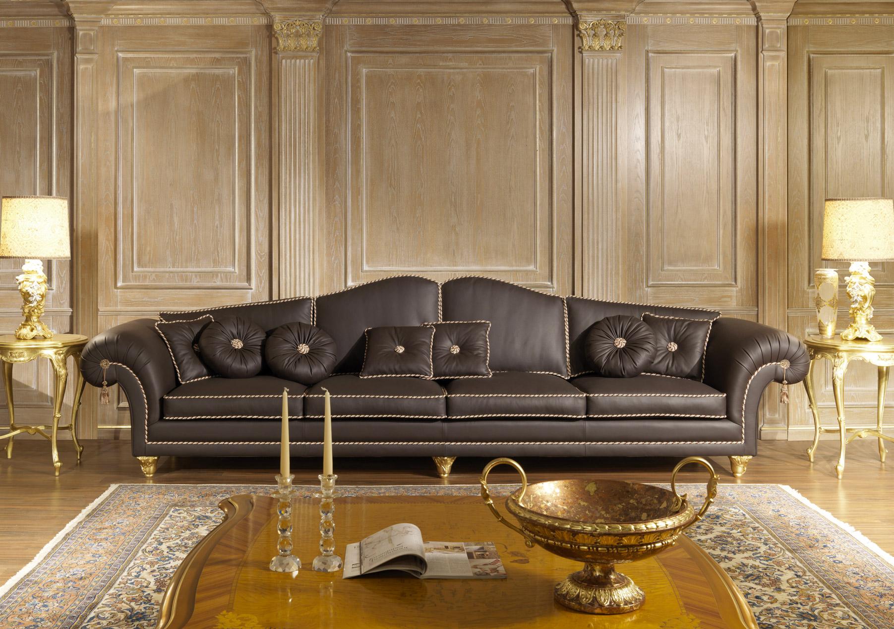 Extra Large Sofa In Leather Vimercati Classic Furniture