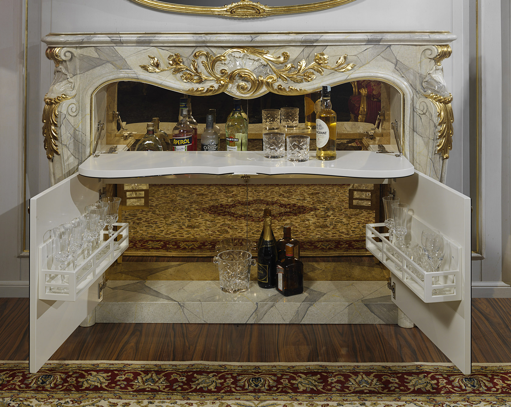 Fireplace With Bar Style Baroque Vimercati Classic Furniture