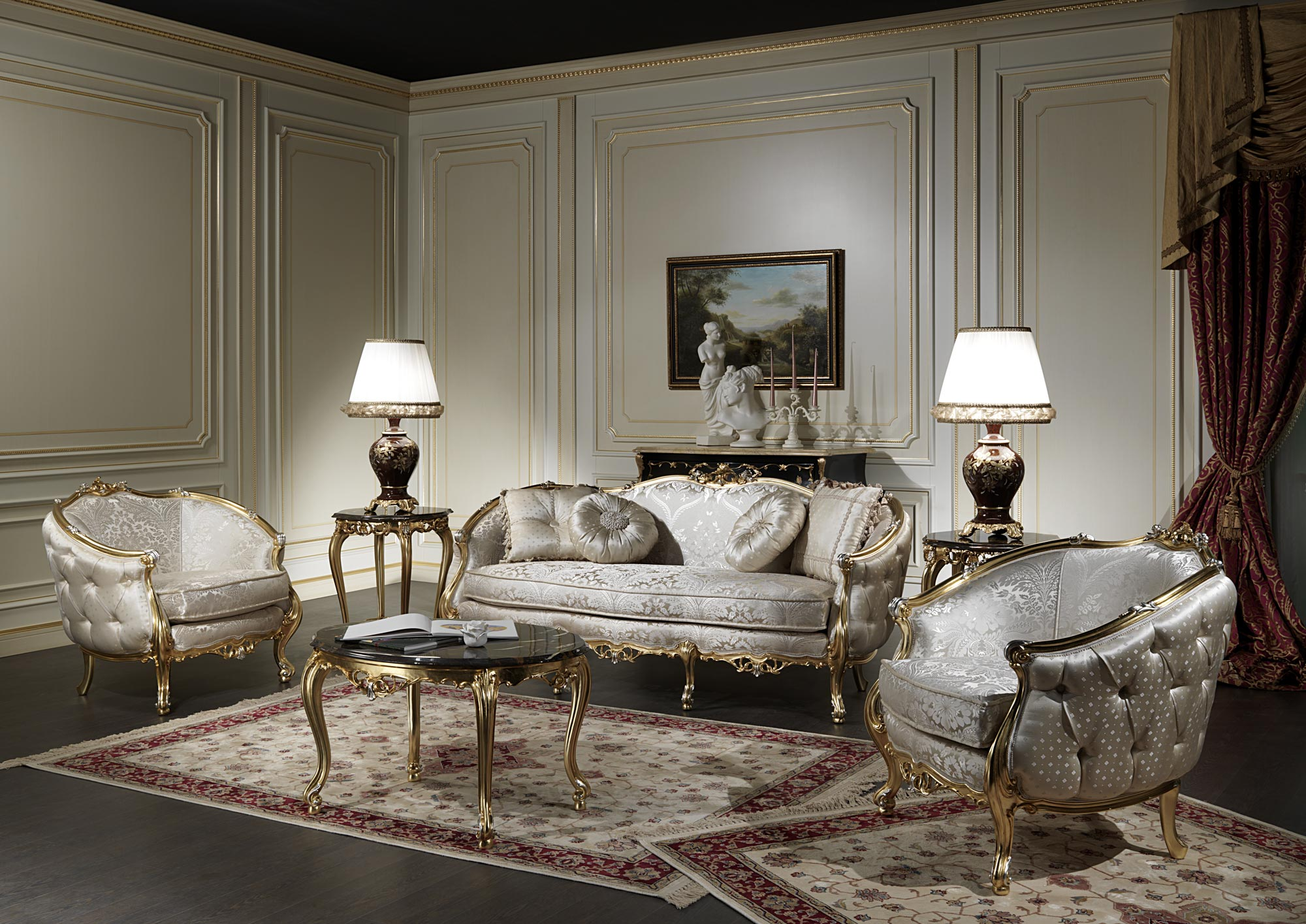 Classic living room made in italy venezia vimercati for Classic living room furniture