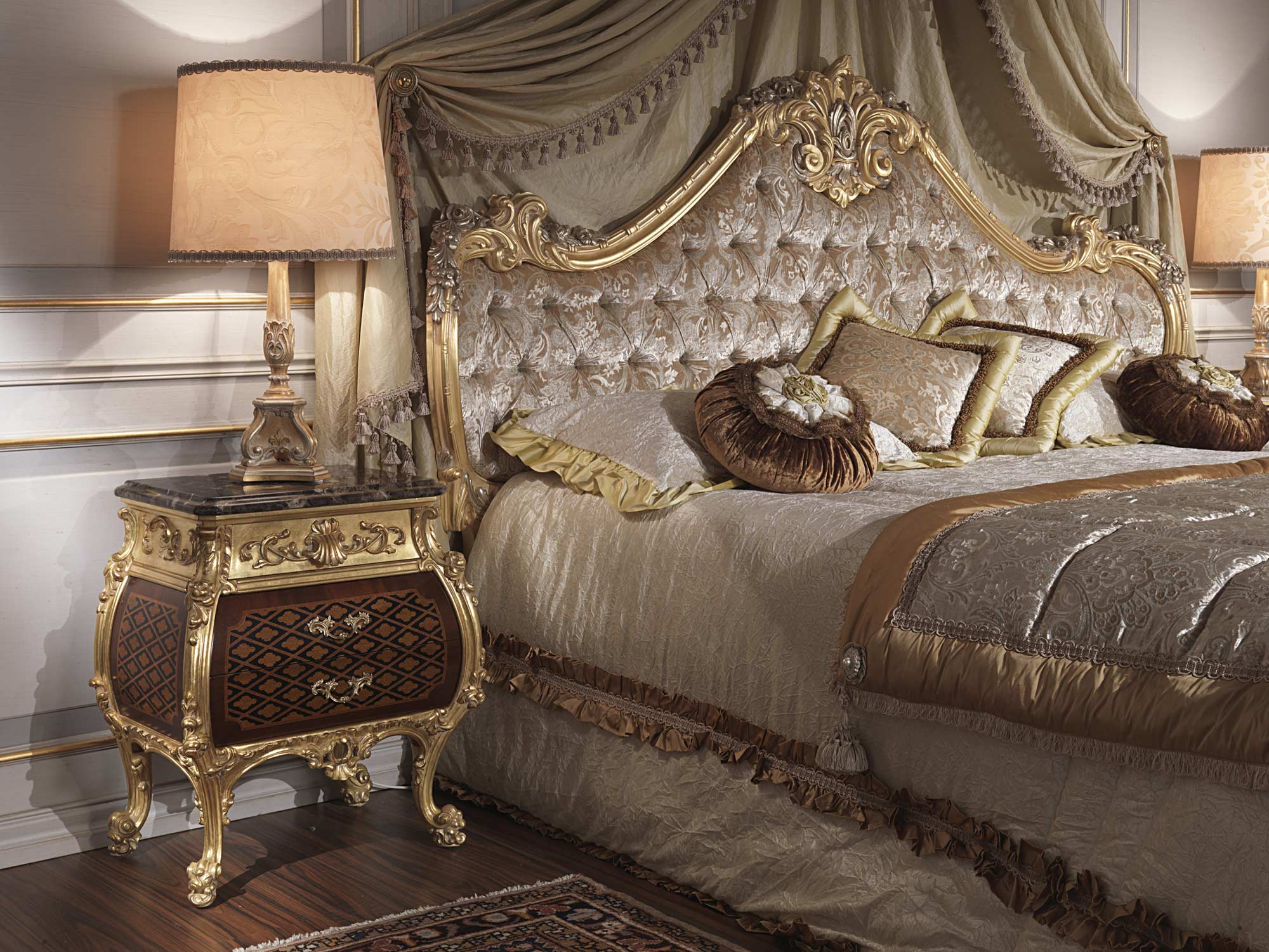 Contract Bedroom Furniture Style luxury night table emperador gold, art. 397-931 | vimercati