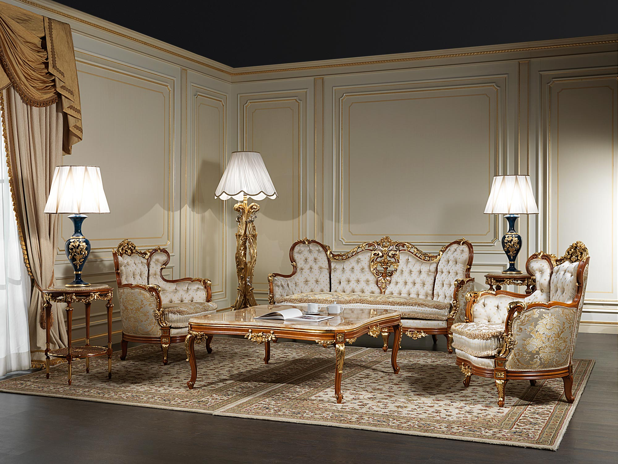 Living room xix made in italy vimercati classic furniture for Classic living room furniture