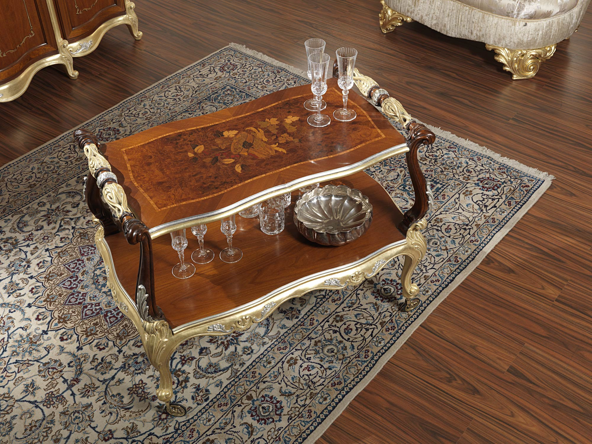 Classic Coffee Table For Living Room With Wheels Vimercati Classic Furniture