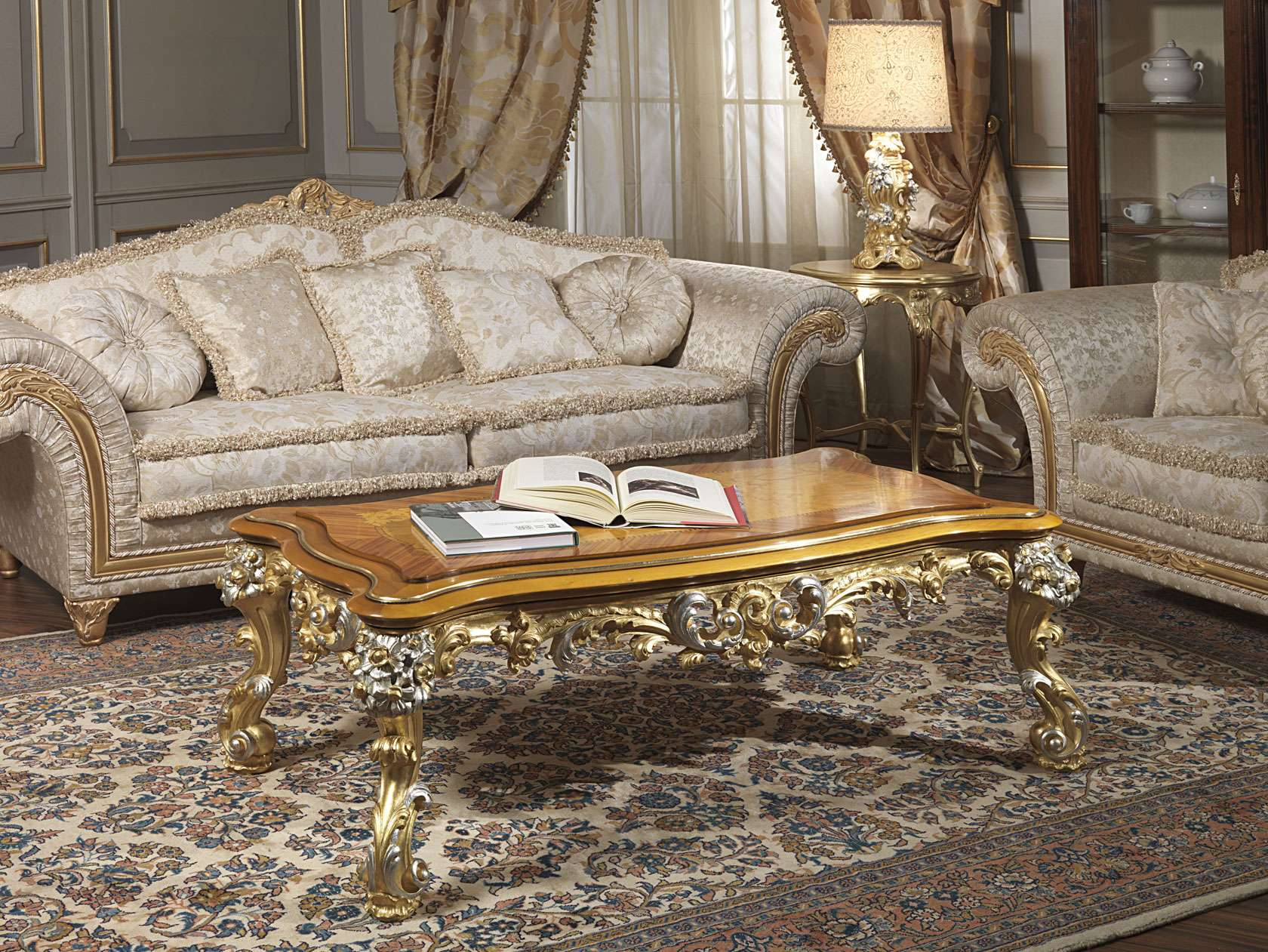 Imperial sofa in fabric with carved table