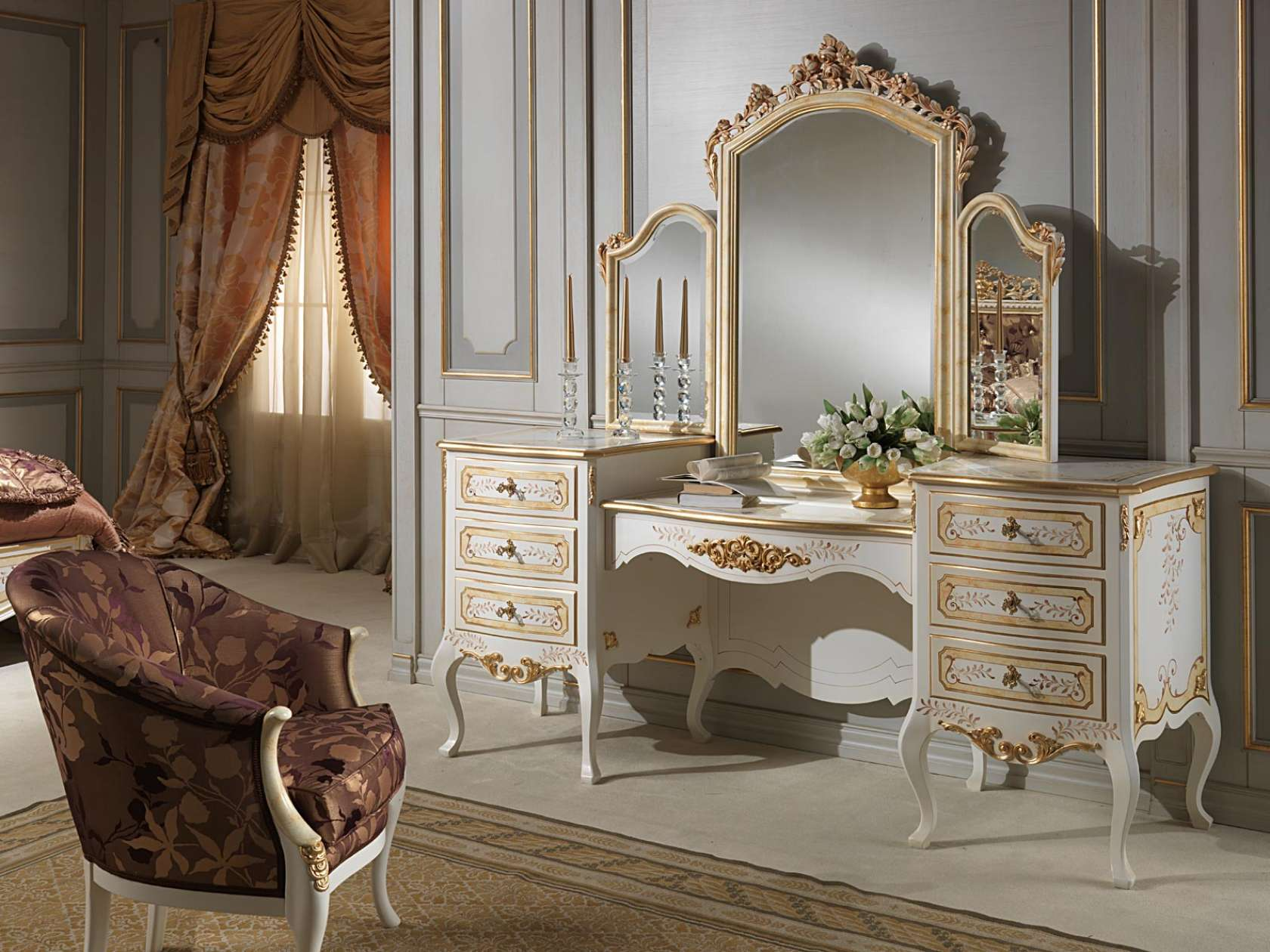 Dressing Table With Mirror, Classic Style, Louvre Luxury Collection.  Patinated Ivory Finish And