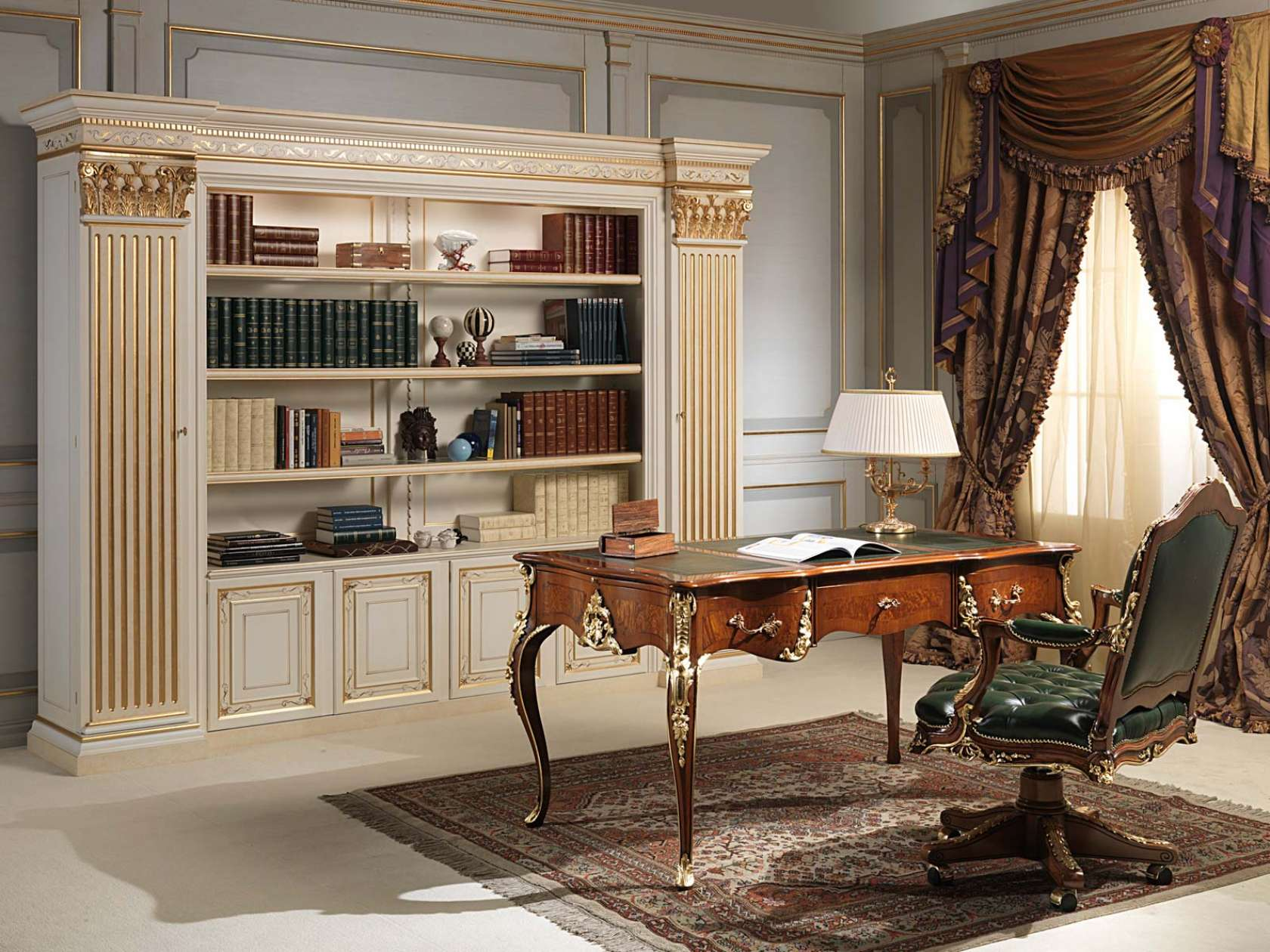 bureau et fauteuil louis xv avec biblioth que classique. Black Bedroom Furniture Sets. Home Design Ideas