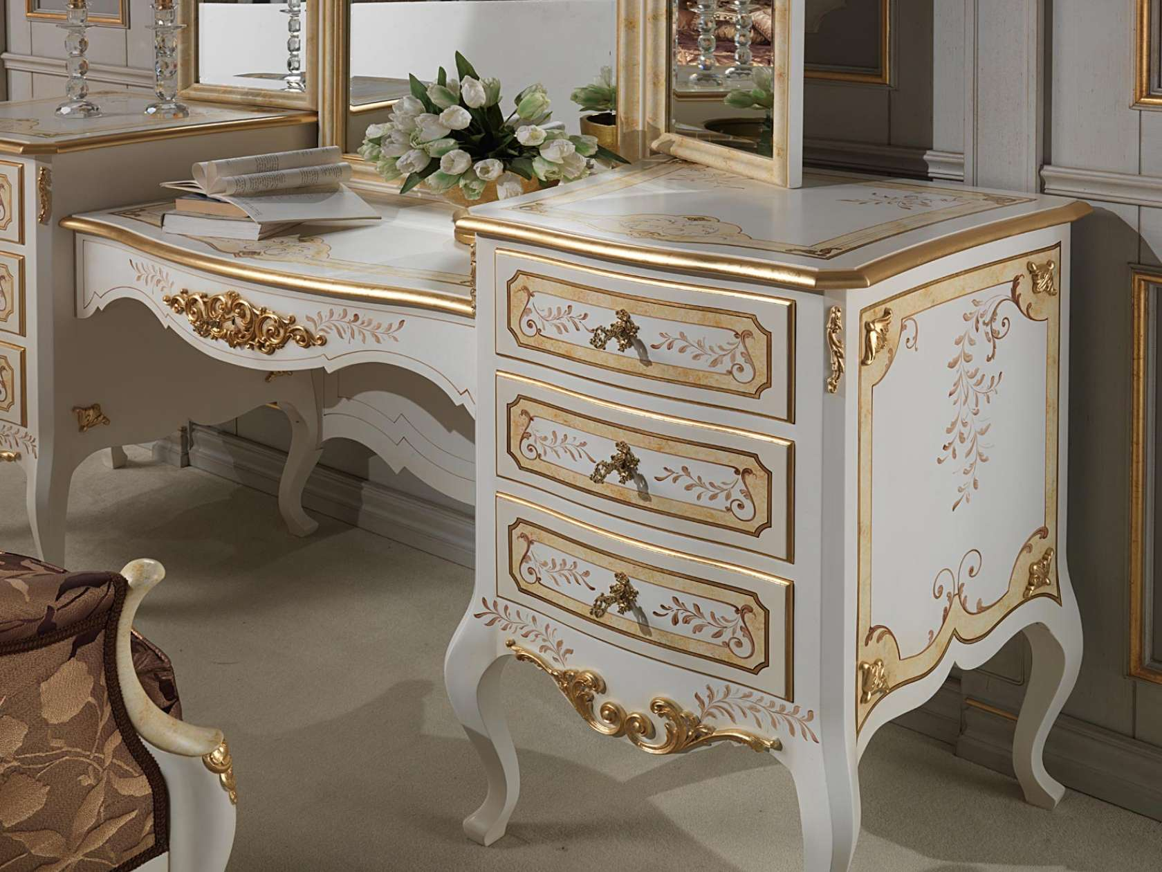Classic Louvre bedroom ivory dressing table