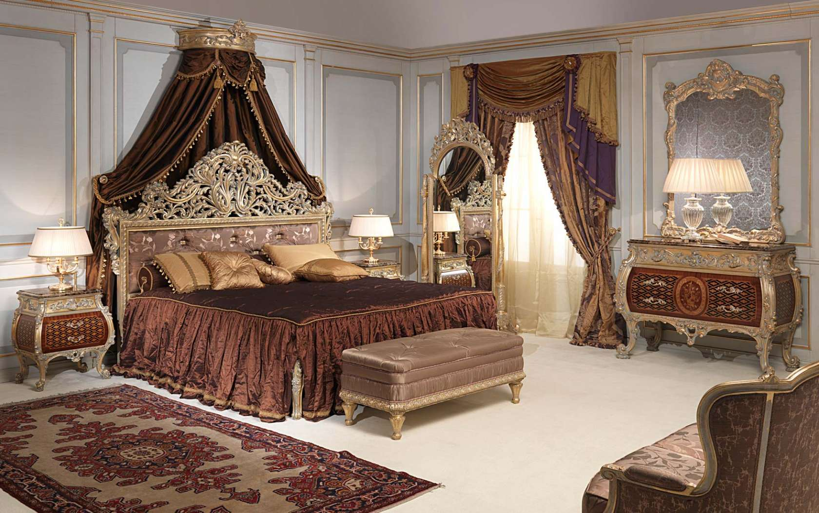 Clic Emperador Gold Bedroom In Louis Xv Style
