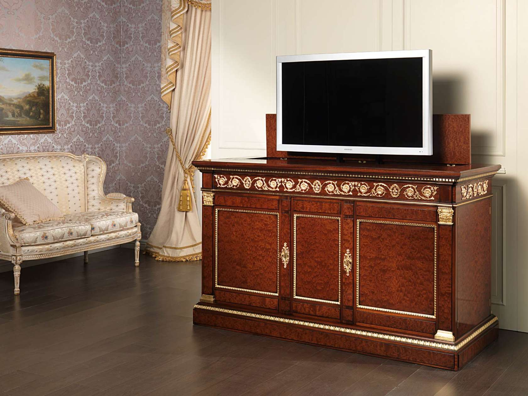 meuble tv en acajou style empire vimercati classic furniture. Black Bedroom Furniture Sets. Home Design Ideas