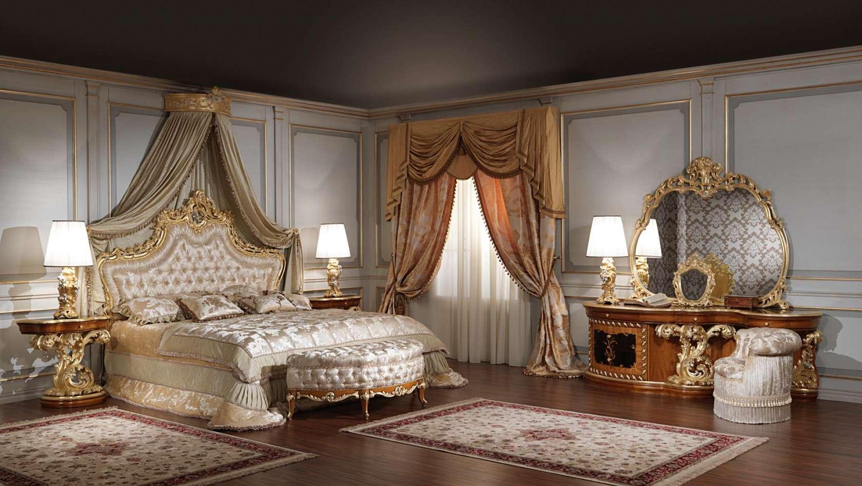 Luxury classic bedroom roman baroque style vimercati for Chambre baroque
