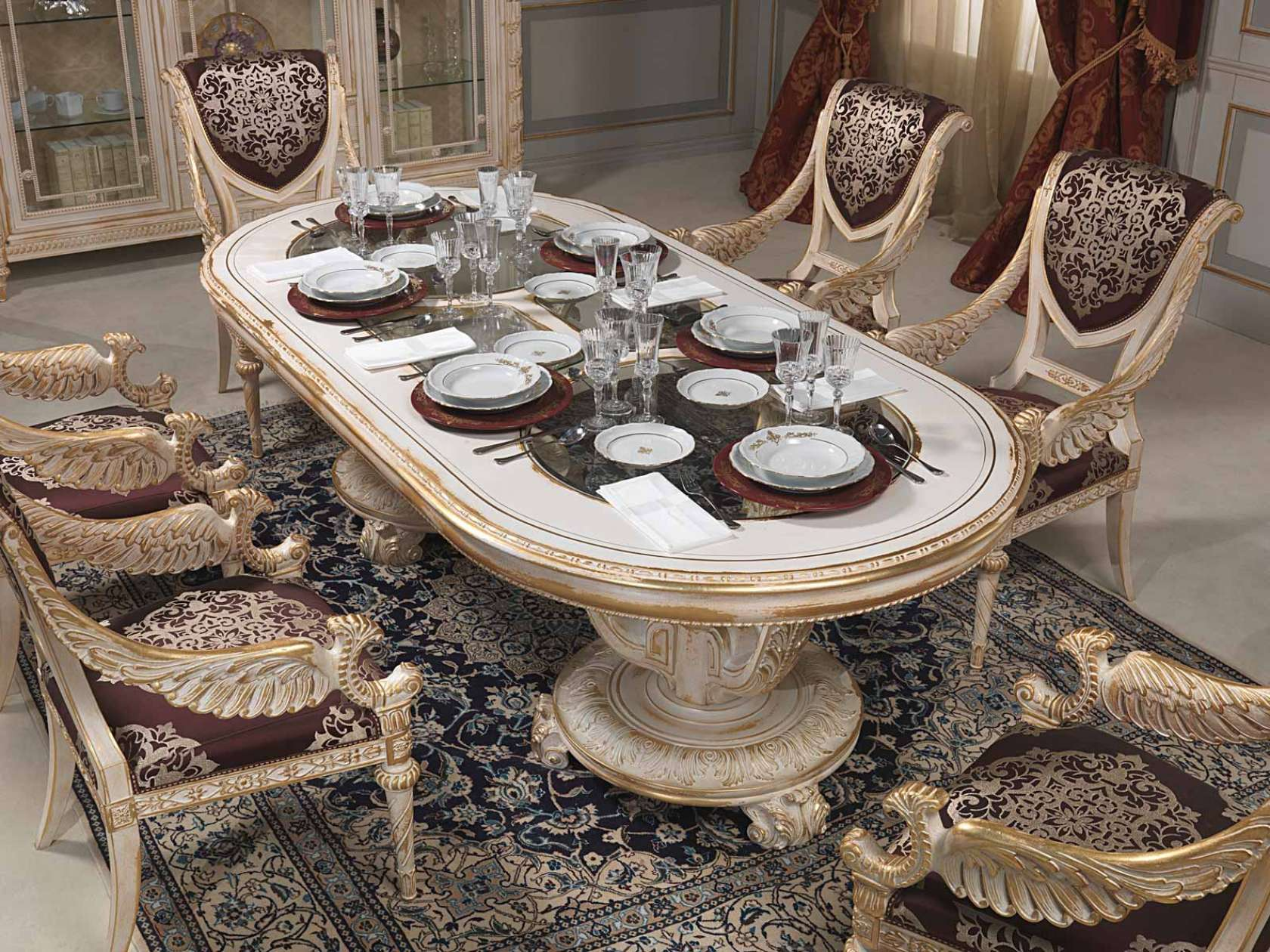 Dining table in louis xvi style vimercati classic furniture for Table salle a manger luxe