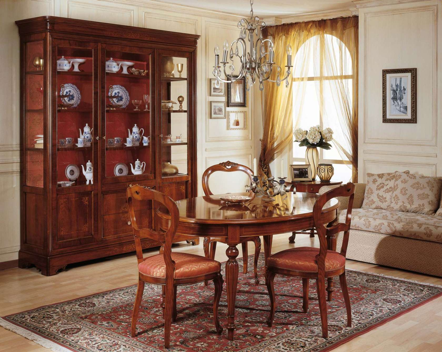 Dining Room French 19th Century, Table And Glass Showcase