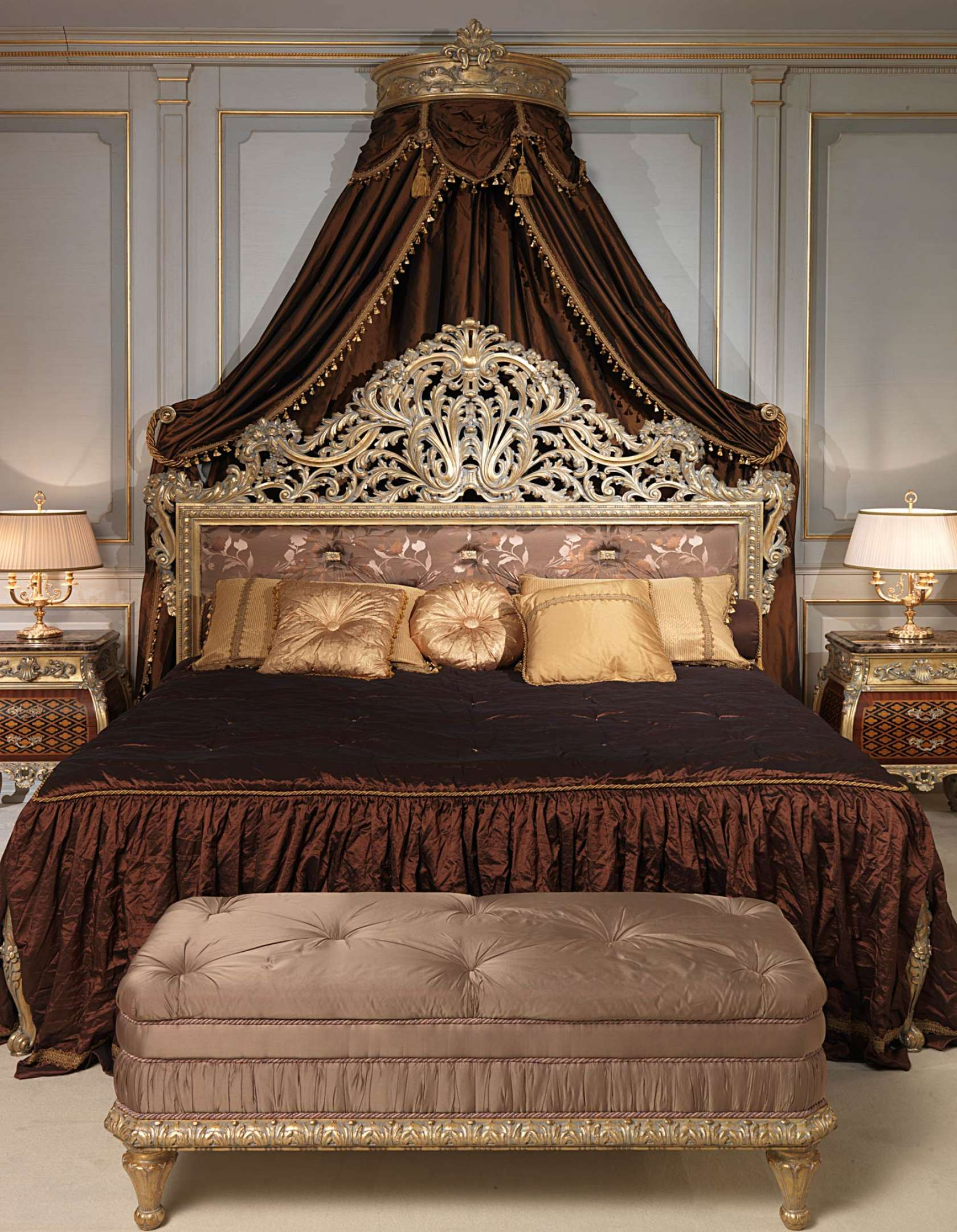 Emperador Gold In Louis XV Bedroom With Carved Bed