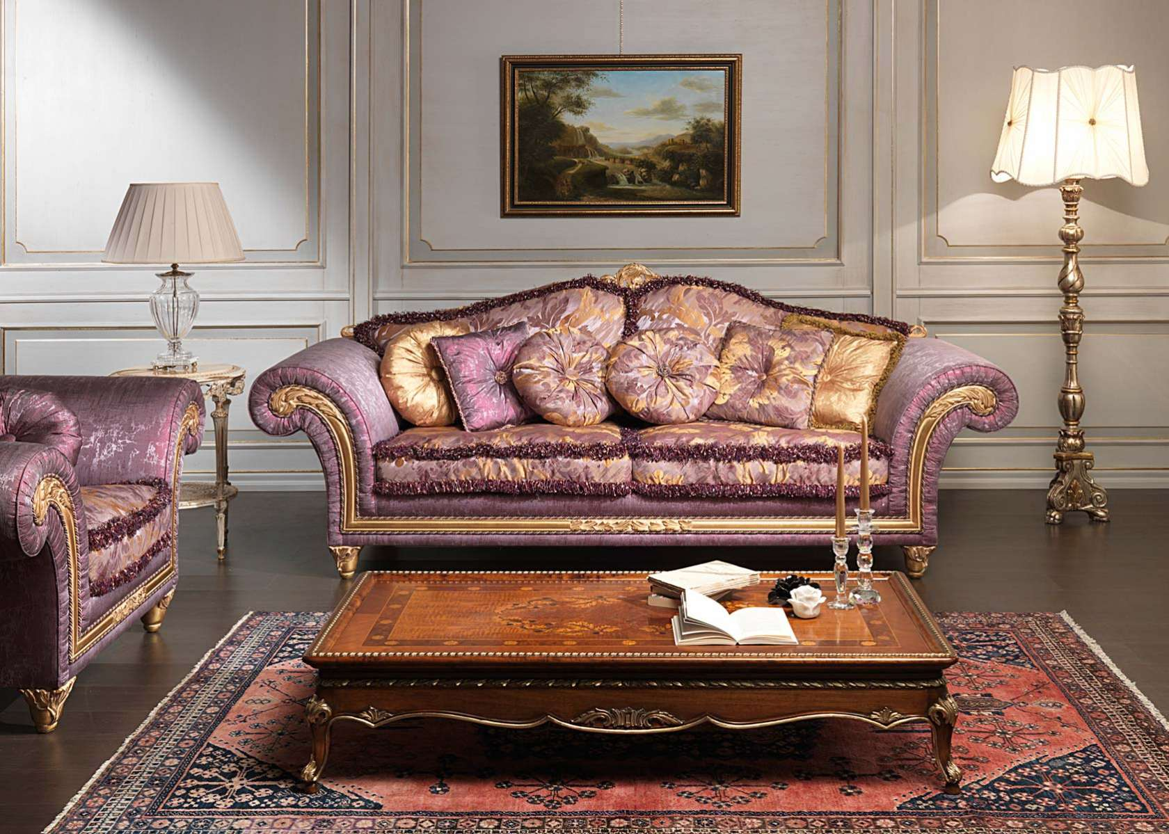 Classic violet sofa imperial and carved table vimercati for Moroccan living room furniture 02