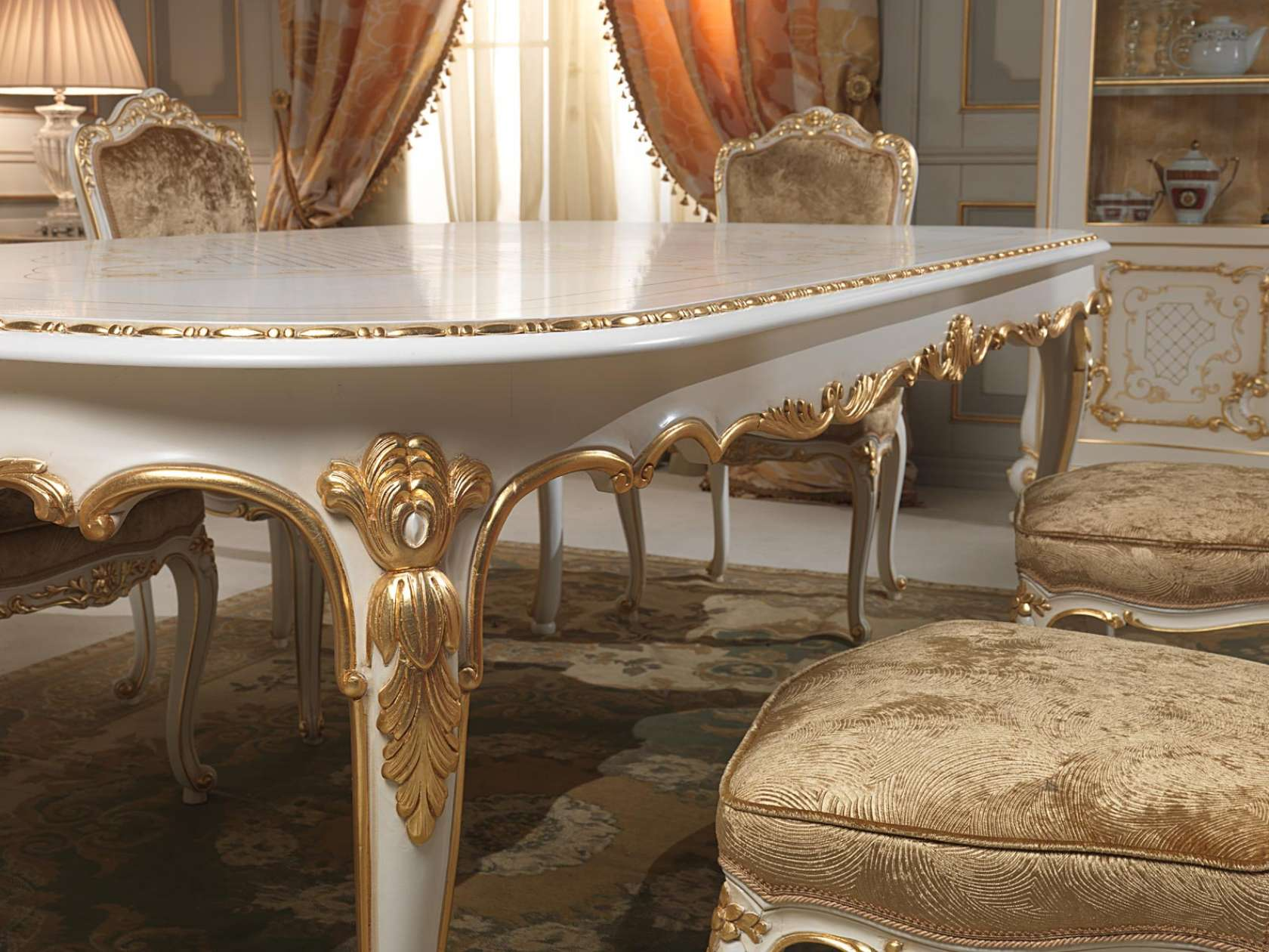 Elegant Dining Table In Louis XV Style, Particular Of The Carvings