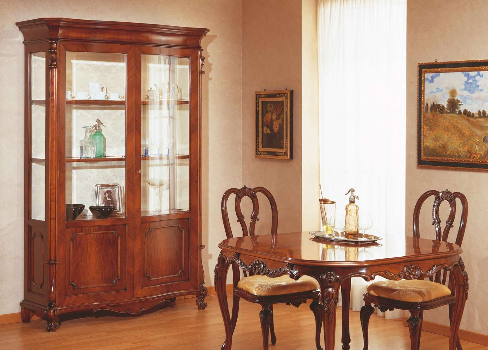 18th century siciliano table and glass showcase | vimercati