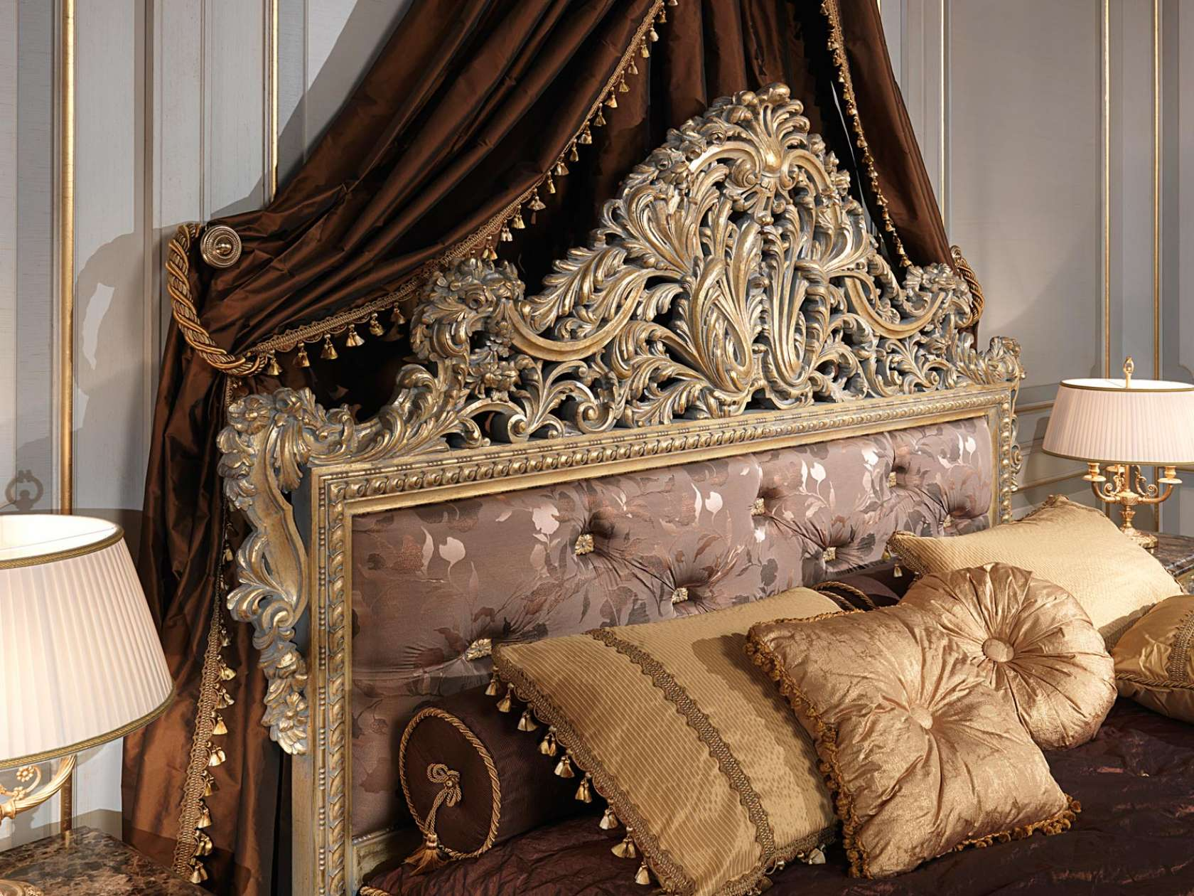 Clic Louis Xv Emperador Gold Bedroom Capitonnè Headboard With Carvings