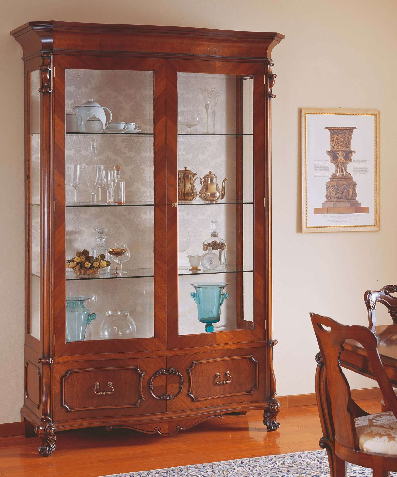 Exceptional Showcase Glass Doors #11: 18th Century Siciliano Glass Showcase Two Doors