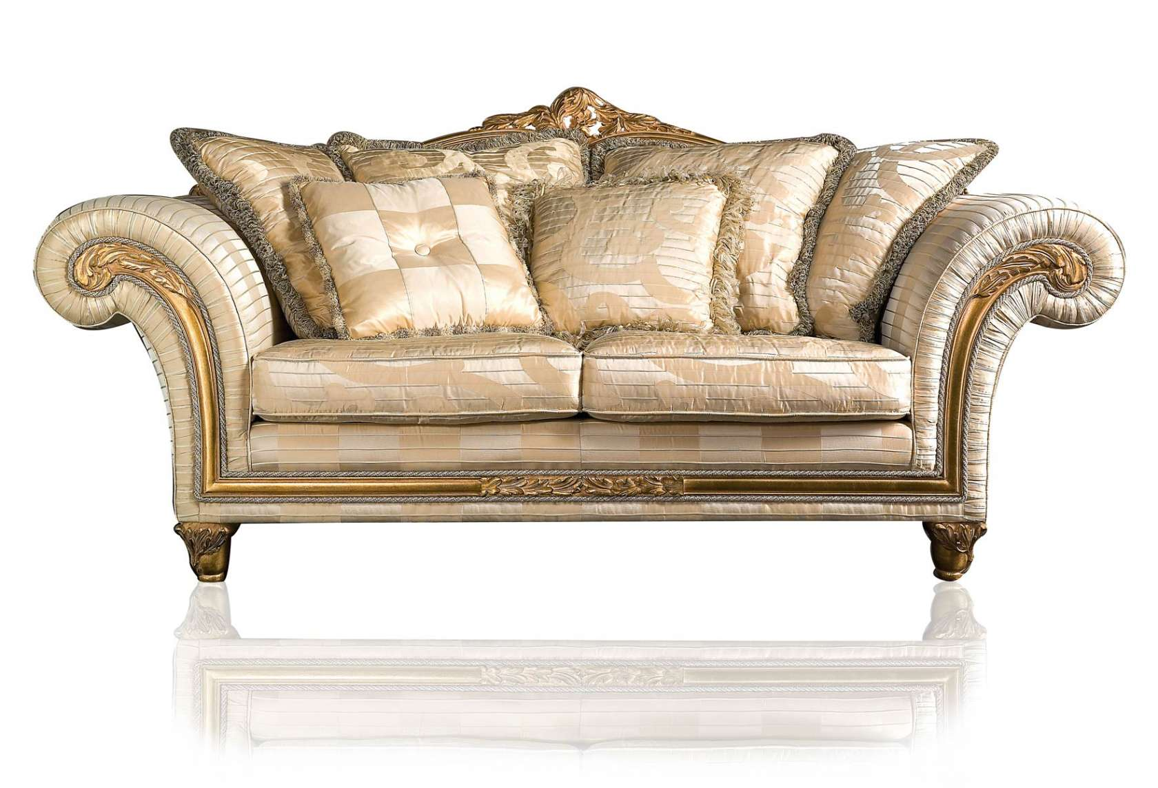 Classic sofa Imperial in ivory fabric | Vimercati Classic Furniture