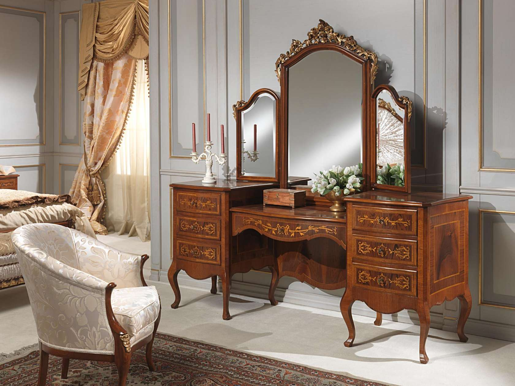 Classic louvre bedroom dressing table with mirror for Bedroom designs with attached bathroom and dressing room