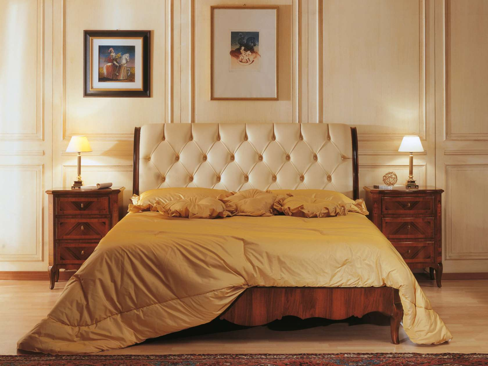 Classic luxury 19th century french bedroom, bed in