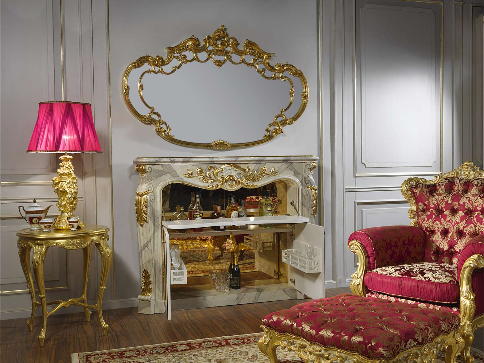 Fireplace and bar for living room baroque | Vimercati ...