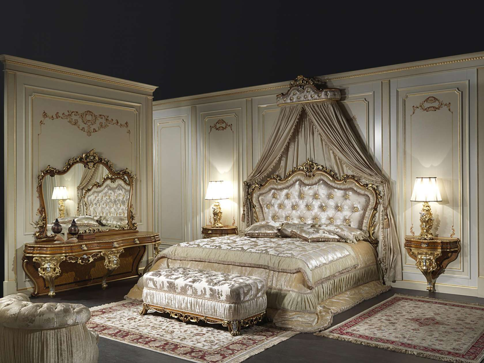 Letto matrimoniale classico in stile barocco art. 2013 | Vimercati ...