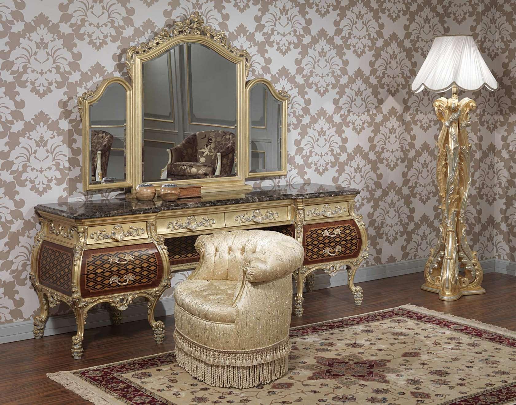 Elegant furniture for bedroom, Emperador Gold collection art. 397-931
