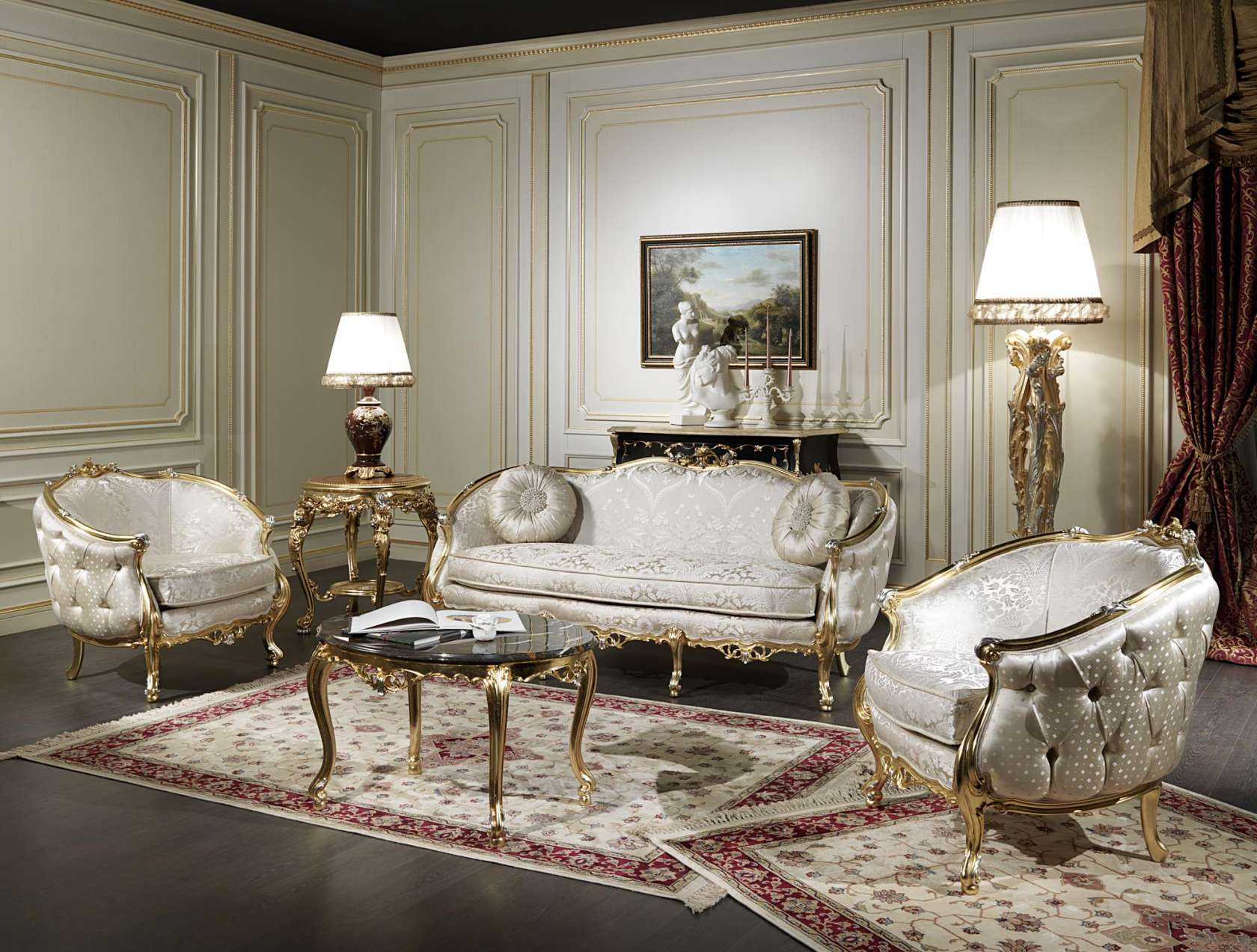 Italian Living Room. Italian classic living room Venezia  Vimercati Classic Furniture