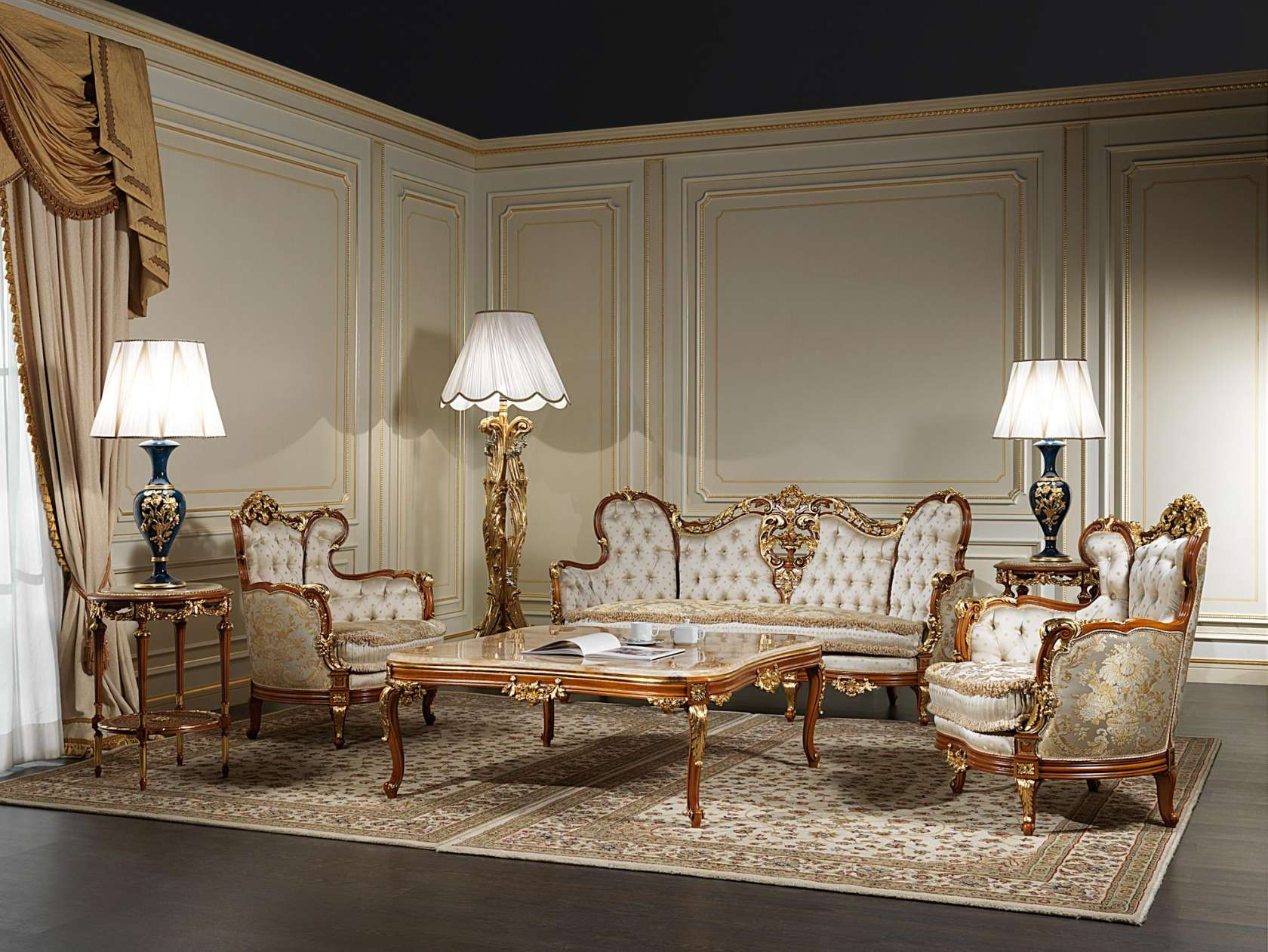 Living room xix made in italy vimercati classic furniture for Saloni di lusso