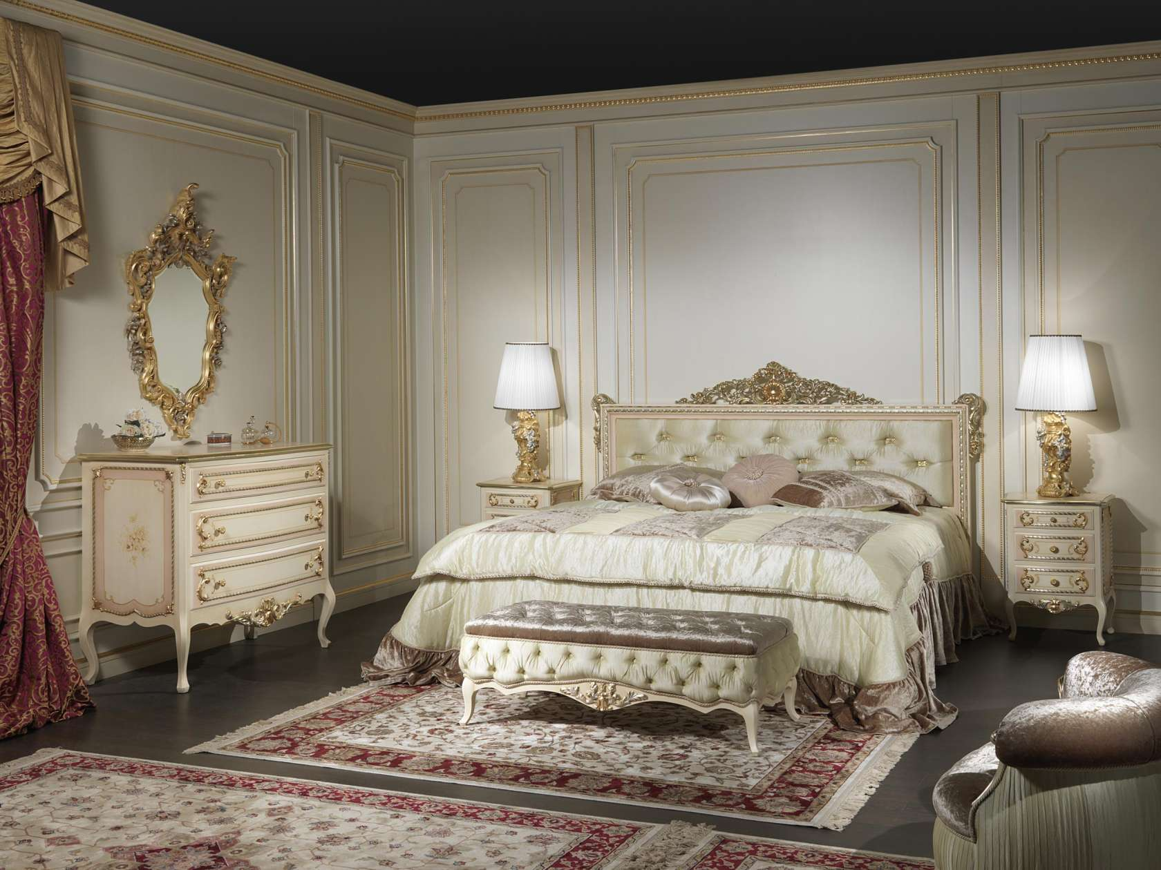 classic french style bedroom louvre 943 | vimercati classic furniture