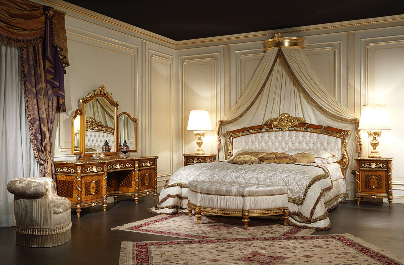 Double bed in walnut for the Louis XVI collection Noce e Intarsi. Walnut bedroom furniture Louis XVI Noce e Intarsi art  2011