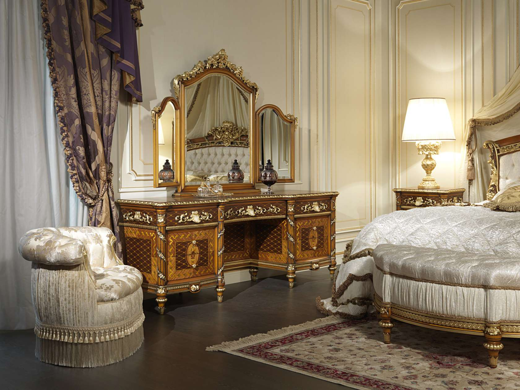 Louis xvi bedroom furniture - Toilette And Mirror In Walnut Of The Louis Xvi Bedroom Noce E Intarsi