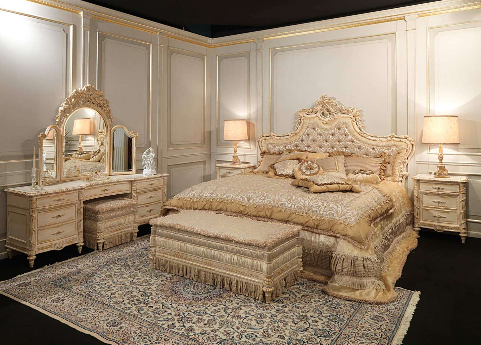 Luxury classic bedroom luigi xvi style white and gold art for Classic house 2006