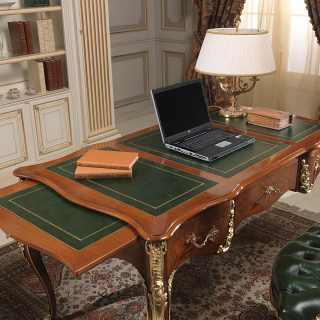 Desk Louis Xv Style Walnut Antique Finish Handmade Carvings And Gold Leaf Details