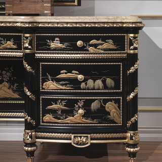 China black lacquered toilette, Luigi XV style, gold leaf details, marble top