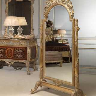 Mirror with weels Luigi XV style, Emperador Gold collection, carved wood