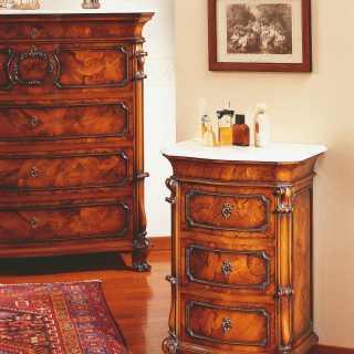 Classic walnut night table, 700 siciliano style