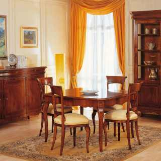 800 francese style dining room, walnut finish: square table with marquetry, carved chairs, inlayed glass showcase and sideboard