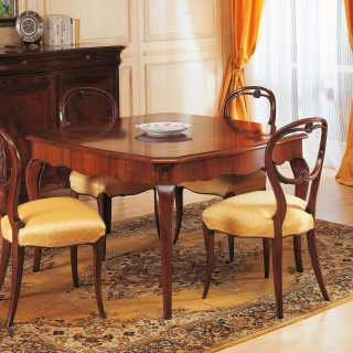 Walnut square table, 800 francese style, with carved chairs and inalyed sideboard. Italian luxury classic furniture
