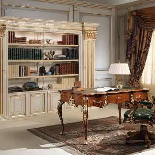 Louis XV style desk and armchair, walnut antique finish, handmade carvings, gold leaf details. Classic luxury bookcase, lacquered ivory finish with golden details, shelves hidden on the columns