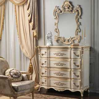 Classic Luigi XVI style chest of drawers and mirror