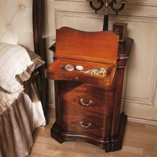 700 lombardo night table, walnut wood, antique finish