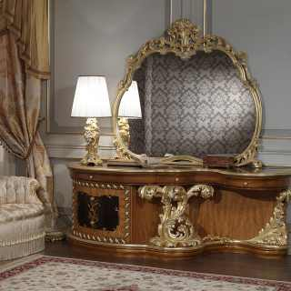 Baroque toilette carved and inlaid. Baroque mirror and lamp.