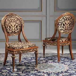 Carved and upholstered chairs from the classic luxury furniture collection Versailles, Luigi XVI style