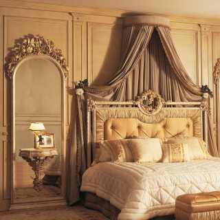 Classic bed, big wall mirrors with integrated night tables, all white over gold finish, rich handmade carvings