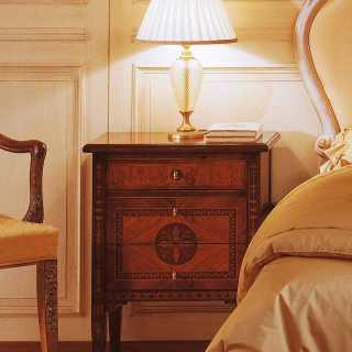 Maggiolini luxury classic collection: walnut and olivewood night table, antique finish