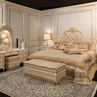 Luigi XVI style bed, night tables and dressing table