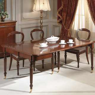 Walnut console-table extensible with four extension, luxury classic furniture made in Italy