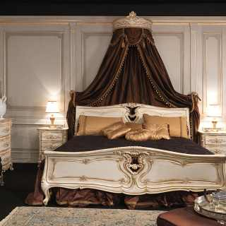 Classic bed with wall tester Luigi XVI style