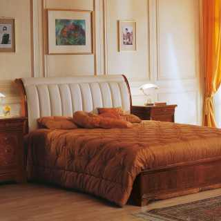 Outlined leather headboard bed, walnut night table with marquetry, 800 francese luxury classic collection